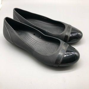 Crocs black shiny cap toe round ballet flats